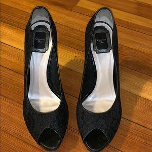 Christian Dior black lace peep toe size 39 1/2